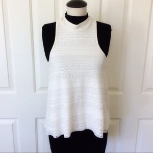 Hollister Small Lace Tank Top Cream White